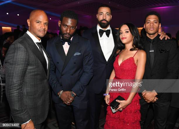 Dondre Whitfield Kofi Siriboe Timon Kyle Durrett Bianca Lawson and Deric Augustine attend 49th NAACP Image Awards After Party at Pasadena Civic...