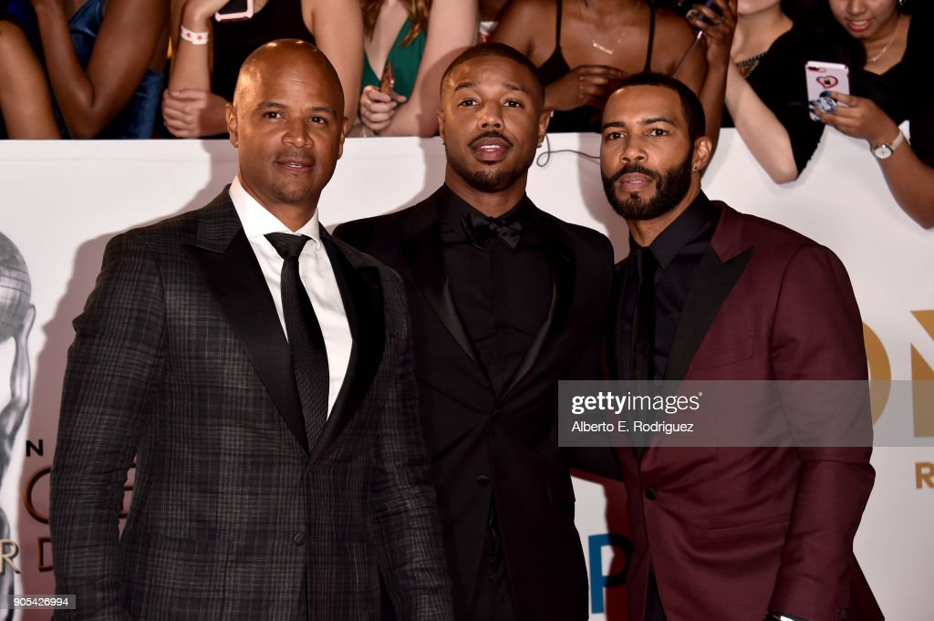 Dondre Whitfield, Michael B. Jordan and Omari Hardwick attend the 49th NAACP Image Awards at Pasadena Civic Auditorium on January 15, 2018 in Pasadena, California.