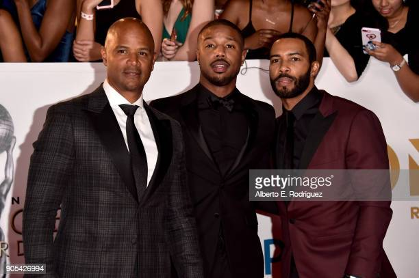 Dondre Whitfield Michael B Jordan and Omari Hardwick attend the 49th NAACP Image Awards at Pasadena Civic Auditorium on January 15 2018 in Pasadena...