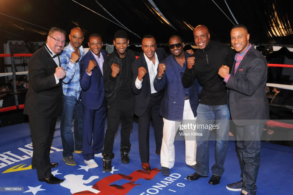Dondre Whitfield, Tommy Davidson, Usher, Sugar Ray Leonard, Johnny Gill, Barry Bonds and DeVon Franklin attends B. Riley & Co. & The Sugar Ray Leonard Foundation Present The 4th Annual 'Big Fighters, Big Cause' Charity Fight Night To Benefit Juvenile Diabetes at Santa Monica Pier on May 21, 2013 in Santa Monica, California.