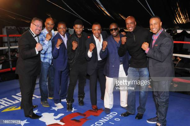 Dondre Whitfield Tommy Davidson Usher Sugar Ray Leonard Johnny Gill Barry Bonds and DeVon Franklin attends B Riley Co The Sugar Ray Leonard...