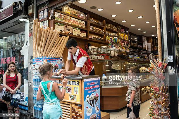 Dondurma sellers on Istiklal Cad work to amuse patients who buy their sticky ice cream