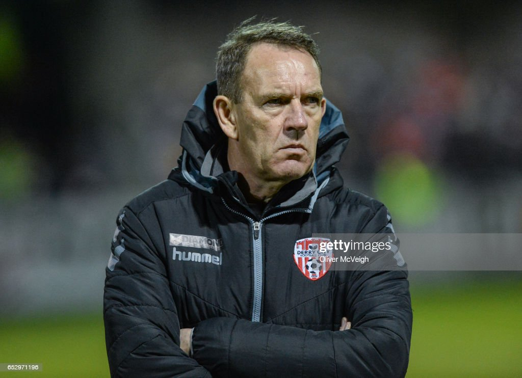 Donegal , Ireland - 13 March 2017; Derry City manager Kenny Shiels during the SSE Airtricity League Premier Division match between Derry City and Dundalk at Maginn Park in Buncrana, Donegal.
