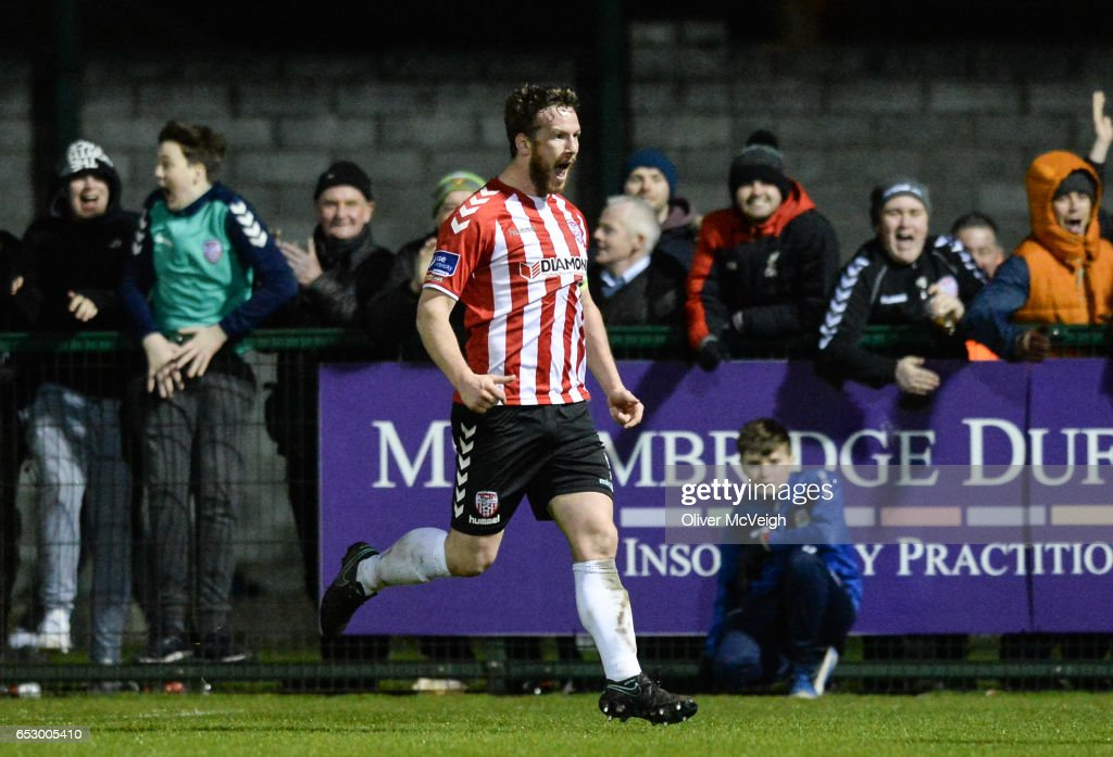 Donegal , Ireland - 13 March 2017; Ryan McBride of Derry City celebrates after scoring his side's third goal during the SSE Airtricity League Premier Division match between Derry City and Dundalk at Maginn Park in Buncrana, Donegal.