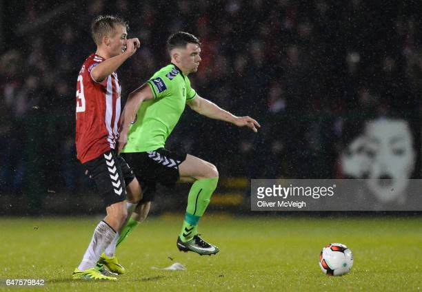 Donegal Ireland 3 March 2017 Dean Clarke of Limerick in action against Lukas Schubert of Derry City during the SSE Airtricity League Premier Division...