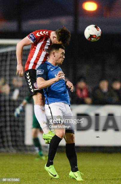 Donegal Ireland 31 March 2017 Connor McDermott of Derry City in action against Aaron Greene of Bray Wanderers during the SSE Airtricity League...