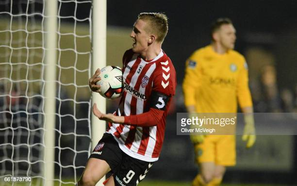 Donegal Ireland 31 March 2017 Ronan Curtis of Derry City celebrates after Aaron McEneff of Derry City scored their side's first goal from a penalty...