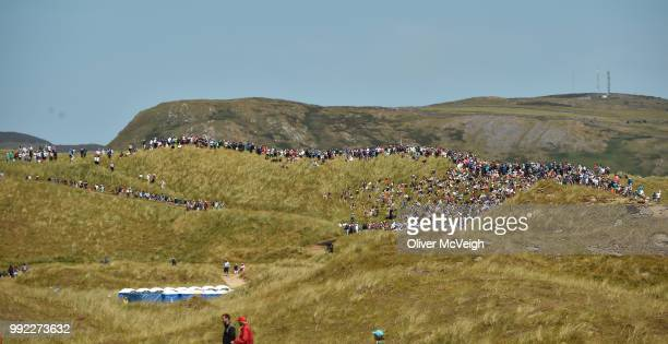 Donegal , Ireland - 5 July 2018; A general view of the large gallery following Rory McIlroy on the 7th green during Day One of the Irish Open Golf...