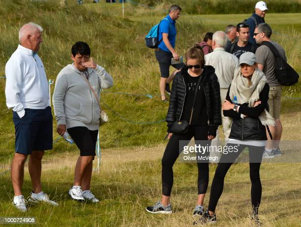 Donegal Ireland 6 July 2018 Rory McIlroy's parents Gerry and Rosie left and his wife Erica right during Day Two of the Dubai Duty Free Irish Open...