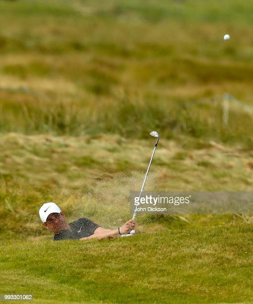 Donegal Ireland 7 July 2018 Adrien Saddier of France plays out of a bunker on the 10th hole during Day Three of the Dubai Duty Free Irish Open Golf...