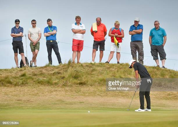 Donegal Ireland 7 July 2018 Adrien Saddier of France putts on the 9th green during Day Three of the Dubai Duty Free Irish Open Golf Championship at...