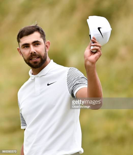 Donegal Ireland 7 July 2018 Erik van Rooyen of South Africa acknowledges the gallery on the 18th hole during Day Three of the Dubai Duty Free Irish...