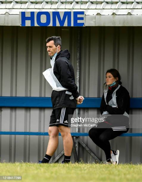 Donegal , Ireland - 8 June 2020; Physiotherapist Michael Hegarty and physiotherapist Katy Holly, right, during a Derry City training session at...