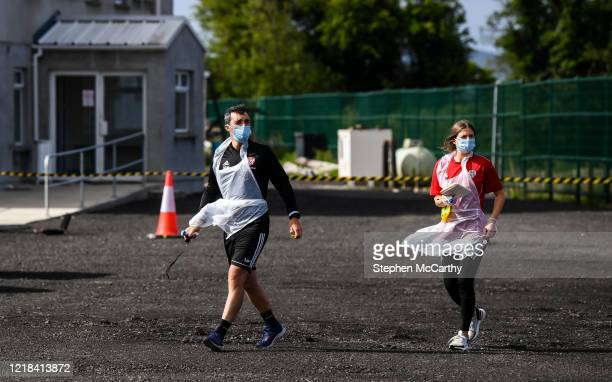 Donegal , Ireland - 8 June 2020; Physiotherapist Michael Hegarty, left, and physiotherapist Katy Holly prior to a Derry City training session at...