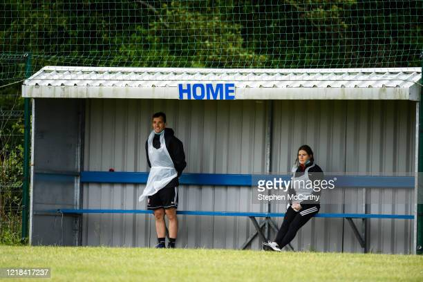 Donegal , Ireland - 8 June 2020; Physiotherapist Michael Hegarty, left, and physiotherapist Katy Holly during a Derry City training session at...