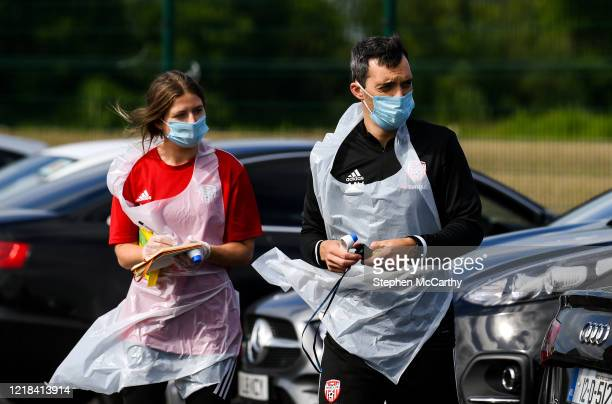 Donegal , Ireland - 8 June 2020; Physiotherapist Michael Hegarty, right, and physiotherapist Katy Holly prior to a Derry City training session at...