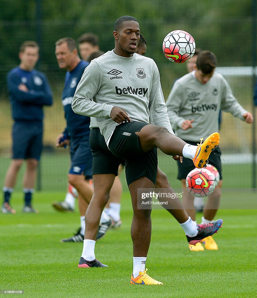 Doneil Henry during the first West Ham United pre-season training session at Chadwell Heath on June 22, 2015 in London, England.