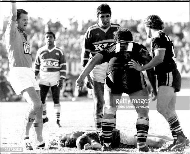 Donelly stands over peek after incidentRugby League at Lidcombe Oval Wests vs SouthsJohn Donnelly bends over an outstretched John Peek while Ken...