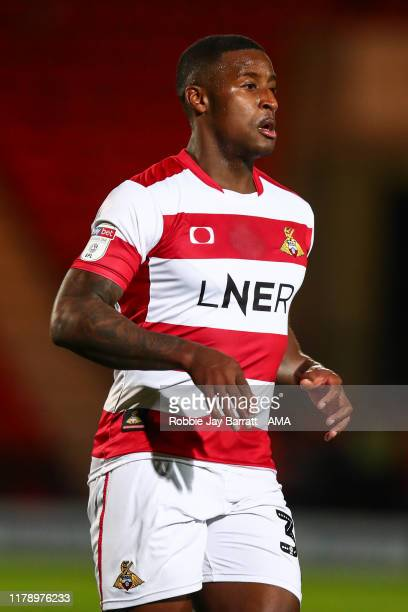 Donervon Daniels of Doncaster Rovers during the Leasingcom Trophy match fixture between Doncaster Rovers and Manchester United U21's at Keepmoat...