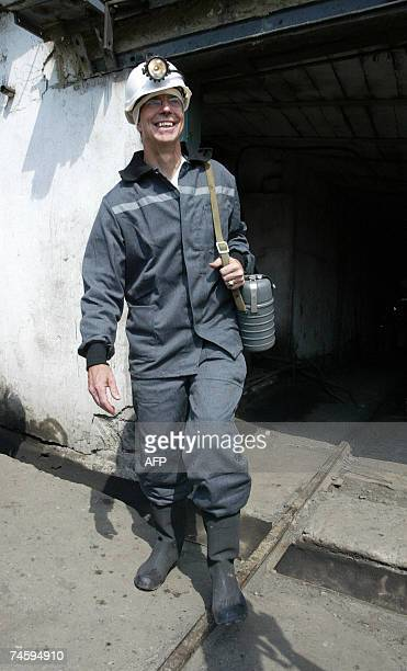 US Ambassador in Ukraine William Taylor smiles as he leaves Belozerskaya coal mine after a visit down the mine about 125 km from the industrial city...