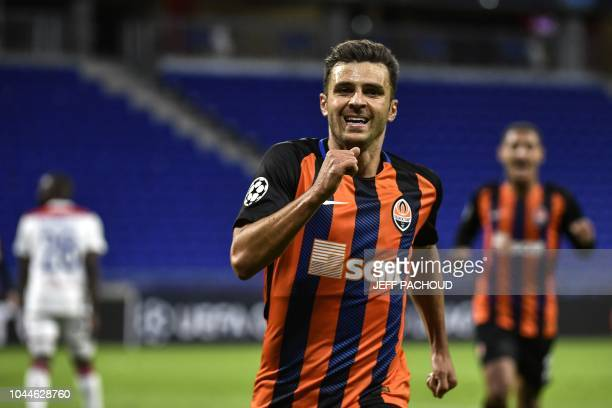 Donetsk's Brazilian forward Júnior Moraes celebrates after scoring during their UEFA Champions League Group F football match Olympique Lyonnais vs FC...