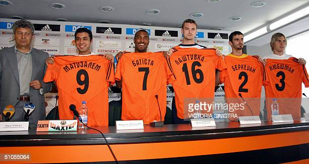 Donetsk's FC Shakhtar main coach Mircea Lucescu gives a press conference in Donetsk 13 July 2004 to present the new player of the club Brazilian...