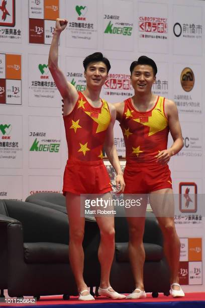 Dong Dong and Xiao Tu of China celebrate during the Men's Synchronised Final on day two of the Trampoline World Cup at Yamato Citizens Gymnasium...