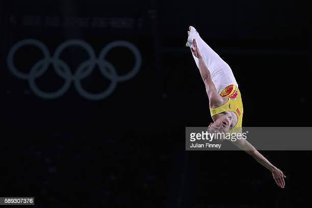 Dong Dong of China performs during the Mens Trampoline on Day 8 of the Rio 2016 Olympic Games at the Rio Olympic Arena on August 13 2016 in Rio de...