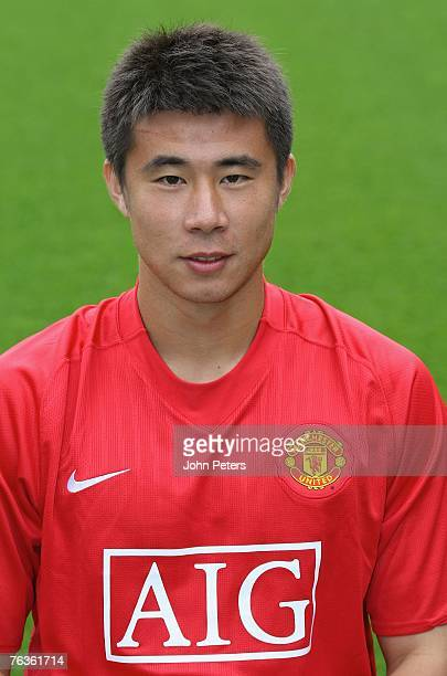 Dong Fangzhuo of Manchester United poses during the club's official annual photocall at Old Trafford on August 28 2007 in Manchester England