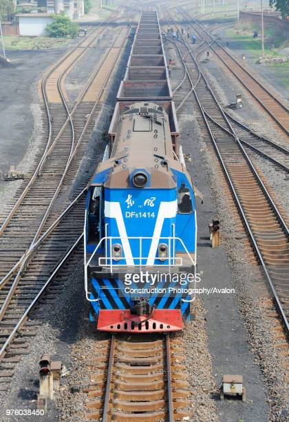 Dong Feng 5 class locomotive shunting coal wagons at the port of Qinhuangdao Hebei province China