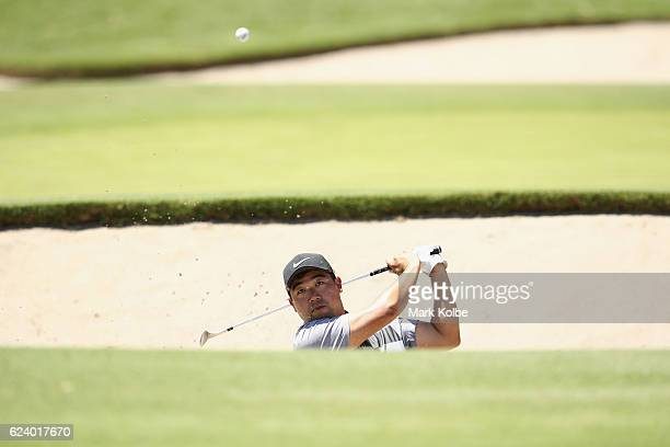 Dong Ha Lee of Korea plays out of a bunker on the 15th during day two of the Australian golf Open at Royal Sydney GC at Royal Sydney Golf Club on...