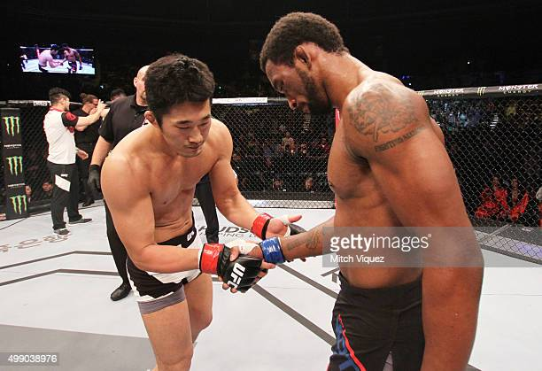 Dong Hyun Kim of South Korea and Dominic Waters of the United States of America shake hands after their welterweight bout during the UFC Fight Night...