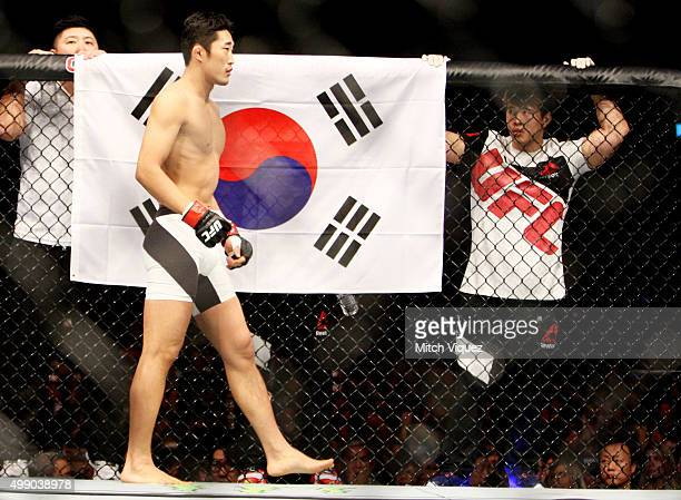 Dong Hyun Kim of South Korea before his welterweight bout with Dominic Waters of the United States of America during the UFC Fight Night at the...