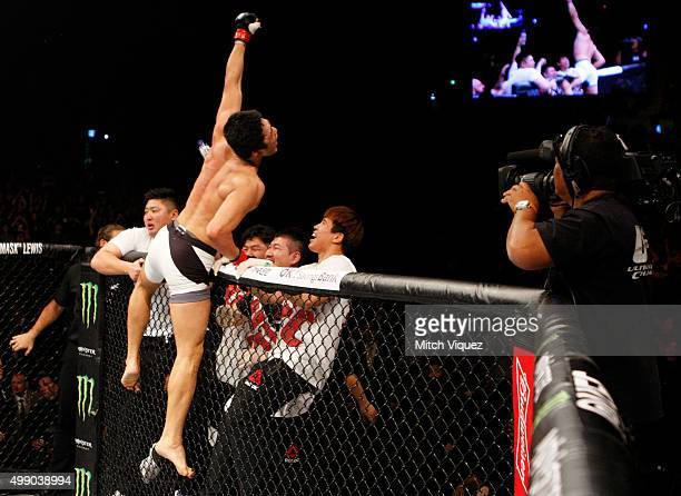 Dong Hyun Kim of South Korea celebrates his win over Dominic Waters of the United States of America in their welterweight bout during the UFC Fight...