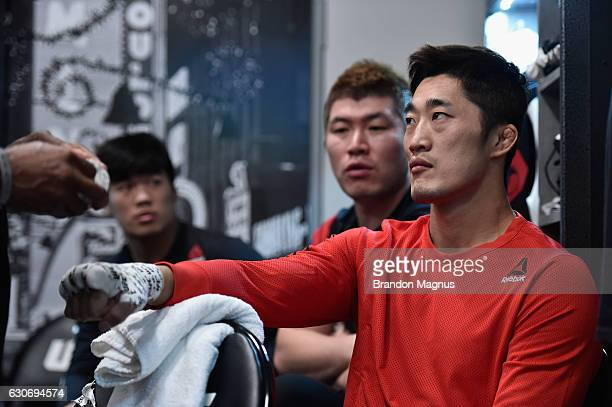Dong Hyun Kim of South Korea has his hands wrapped backstage during the UFC 207 event at T-Mobile Arena on December 30, 2016 in Las Vegas, Nevada.