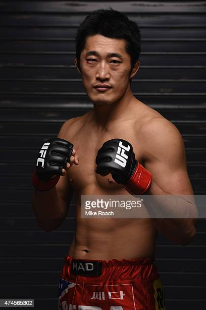 Dong Hyun Kim of South Korea poses for a post-fight portrait during the UFC 187 event at the MGM Grand Garden Arena on May 23, 2015 in Las Vegas,...