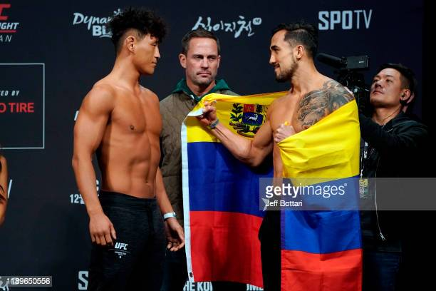 Dong Hyun Ma of South Korea and Omar Morales of Venezuela face off during the UFC fight night weighin at Sajik Arena on December 20 2019 in Busan...