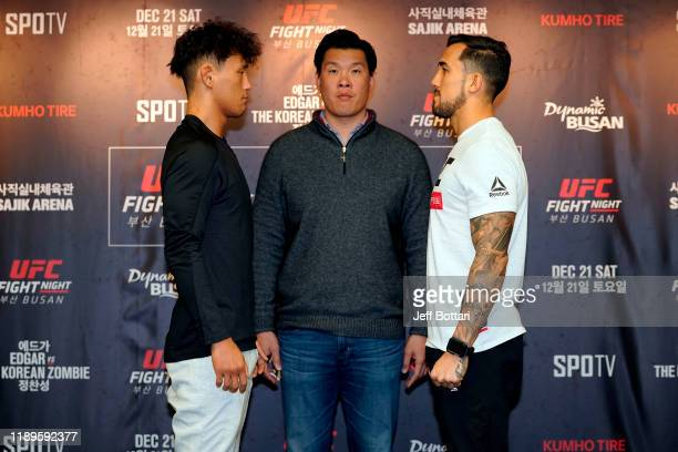 Dong Hyun Ma of South Korea and Omar Morales of Venezuela face-off during the UFC Fight Night Ultimate Media Day at Lotte Hotel Busan on December 19,...