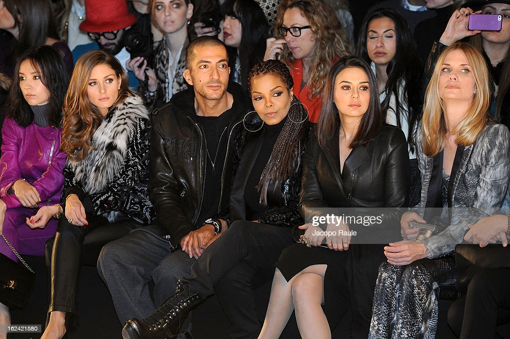Dong Jie, Olivia Palermo, Wissam al Mana, Janet Jackson, Preity Zinta and Filippa Lagerback attend the Roberto Cavalli fashion show as part of Milan Fashion Week Womenswear Fall/Winter 2013/14 on February 23, 2013 in Milan, Italy.