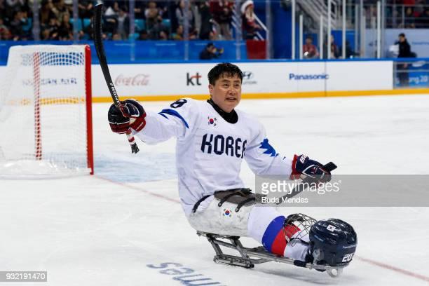 Dong Shin Jang of Korea celebrates after the Ice Hockey semi final game between Canada and Korea during day six of the PyeongChang 2018 Paralympic...