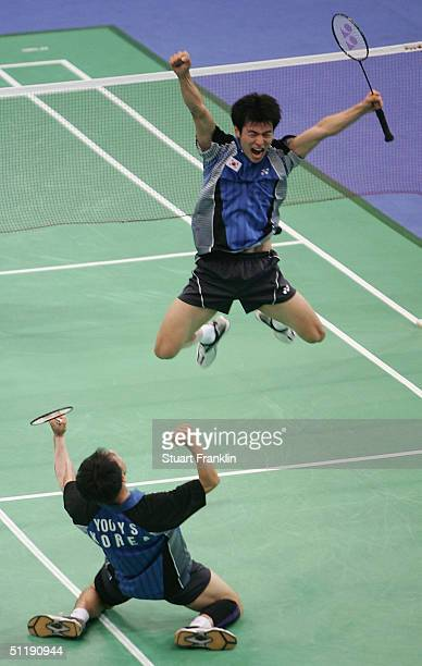 Dong Soo Lee and Yong Sung Yoo of Korea react after defeating Jens Eriksen and H Martin Lundgaard of Denmark in the men's doubles badminton semifinal...