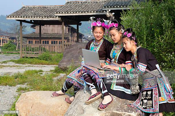 Dong Tribe Girls Using Laptop