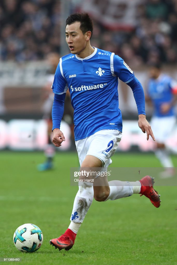 Dong Won Ji of Darmstadt in action during the Second Bundesliga match between FC St. Pauli and SV Darmstadt 98 at Millerntor Stadium on January 28, 2018 in Hamburg, Germany.