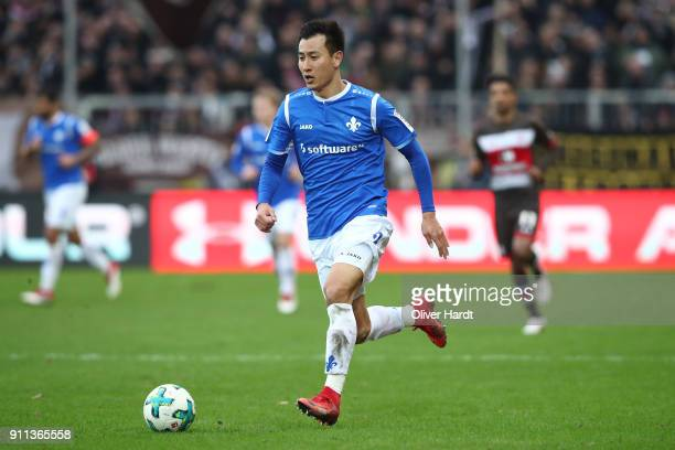 Dong Won Ji of Darmstadt in action during the Second Bundesliga match between FC St Pauli and SV Darmstadt 98 at Millerntor Stadium on January 28...