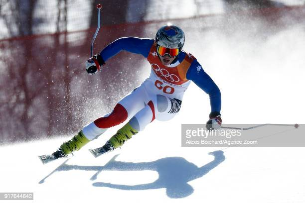 Dong Woo Kim of Korea competes during the Alpine Skiing Men's Combined at Jeongseon Alpine Centre on February 13 2018 in Pyeongchanggun South Korea