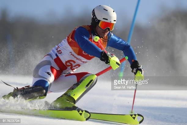 Dong Woo Kim of Korea makes a run during the Men's Alpine Combined Slalom on day four of the PyeongChang 2018 Winter Olympic Games at Jeongseon...