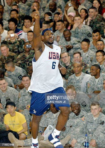 US basketball player LeBron James gestures during a training session at the US Army base in Dongducheon north of Seoul 16 August 2006 The US...