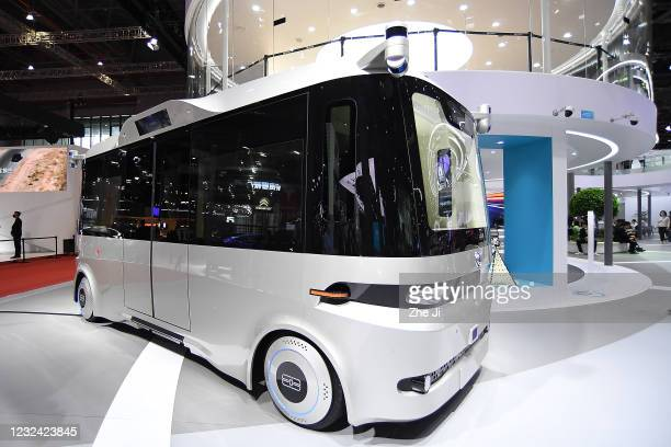 Dongfeng Motor autonomous driving bus is displayed during the 19th Shanghai International Automobile Industry Exhibition, also known as Auto Shanghai...