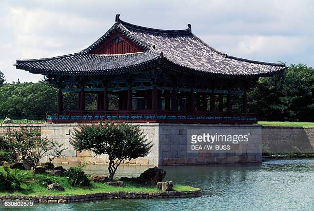 Donggung palace and Wolji pond, built by King Munmu in 7th century, attached to the Silla palace known as Banwolseong, Gyeongju national park, South...