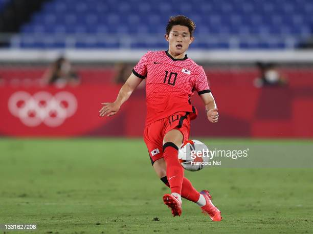 Donggyeong Lee of Team South Korea passes the ball during the Men's Quarter Final match between Republic Of Korea and Mexico on day eight of the...
